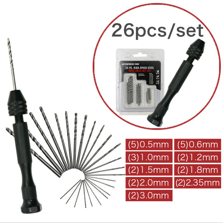 DIY Drilling Delicate Manual Work Electronic Assembling and Model Making Jewelry 26pcs Hand Drill Set Precision Pin Vise Micro Mini Twist Drill Bits for Metal Wood