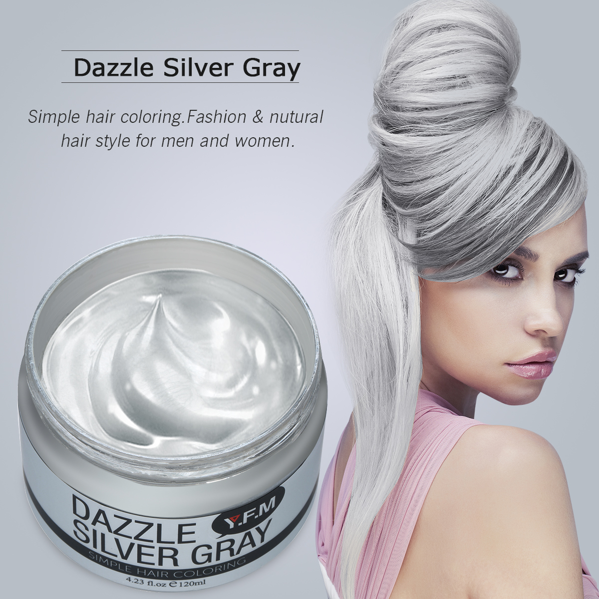 Temporary Silver Grey Hair Color Wax YFM