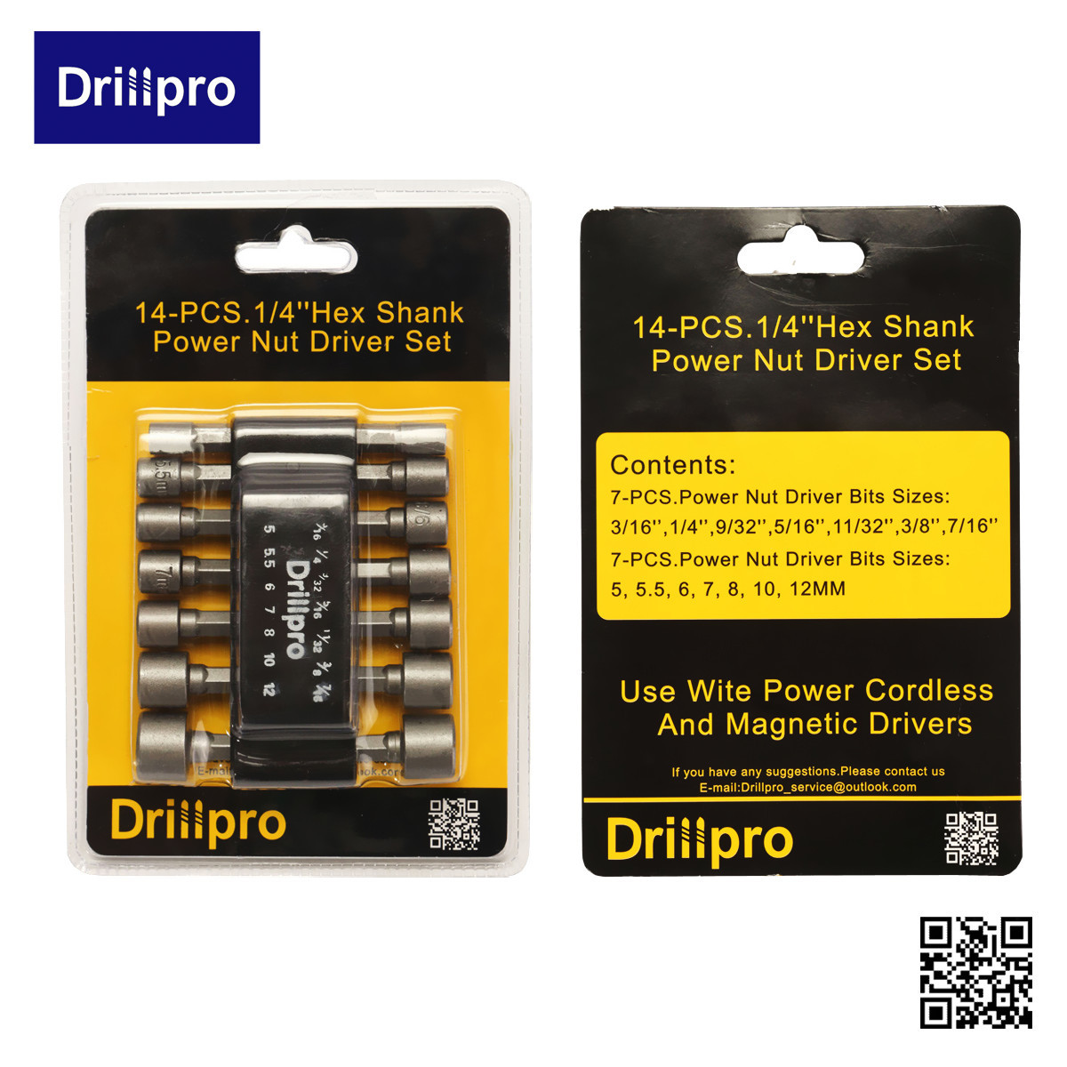 Drillpro 14Pc Power Nut Driver Drill Bit Set SAE Metric Socket Wrench Screw 1/4