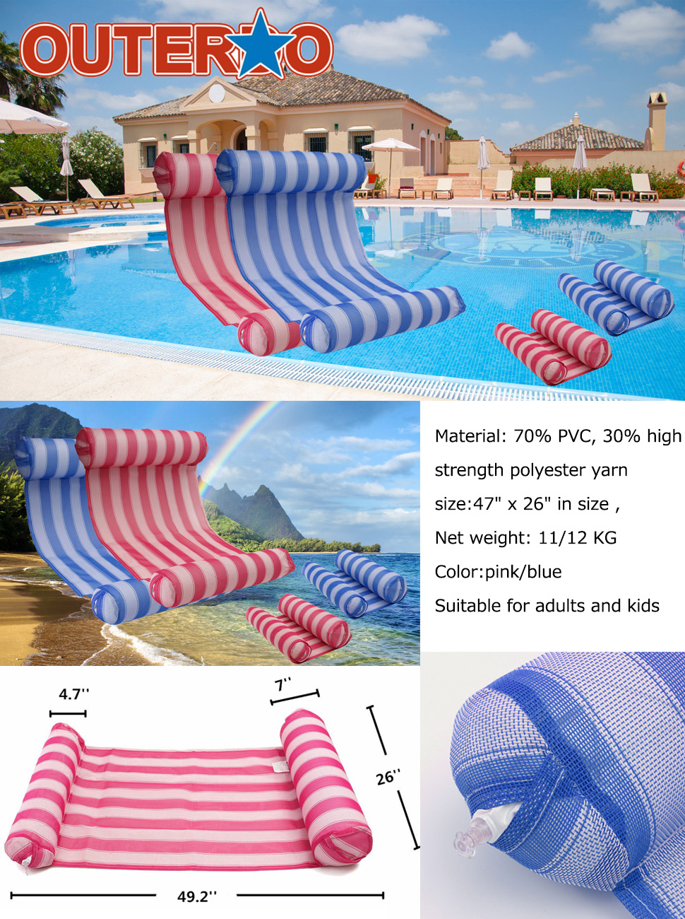 chair water inflatable air hammock mattress rings sports swimming floats pizza lounger item sleeping pool toy from in bed float