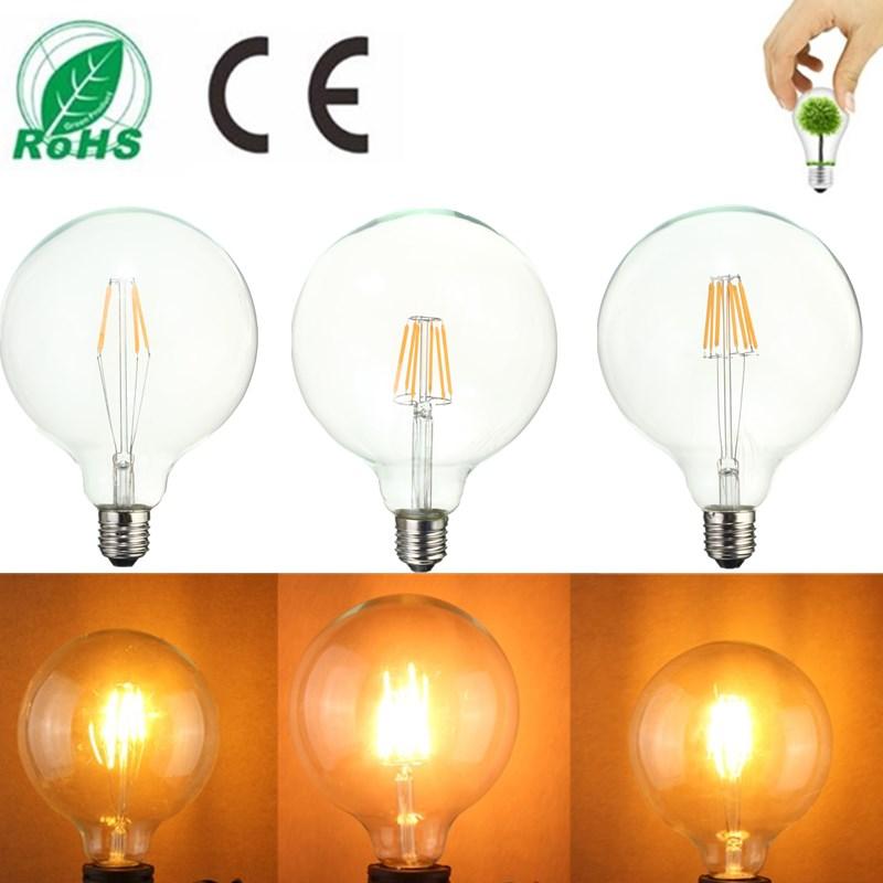 G125 8W E27 Edison Filament Warm White Globe COB LED Light Bulb 220-240V
