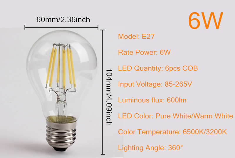 E27 6w wit warm wit cob led filament retro edison lampen for Lampen 4 you