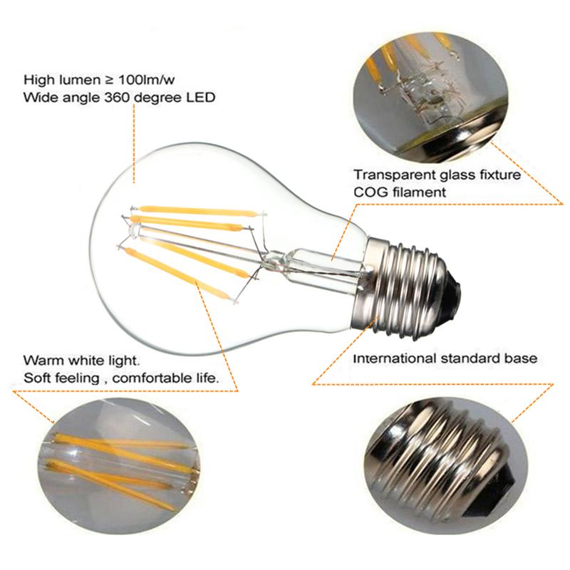 E27 6W White/Warm White COB LED Filament Retro Edison Bulbs 85-265V