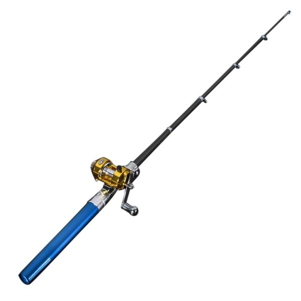 Mini portable pocket fish pen shape aluminum alloy fishing for Blue fishing rod