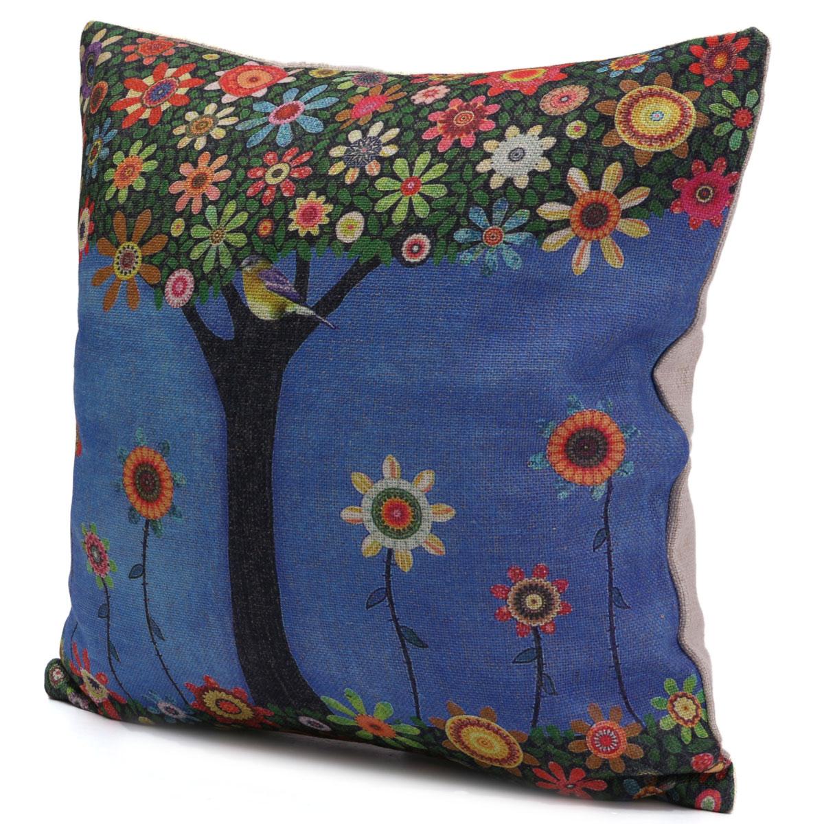 Colorful Bird Throw Pillows : Vintage Colorful Tree Bird Linen Pillow Case Sofa Throw Cushion Cover Home Decor (EXPORT ...
