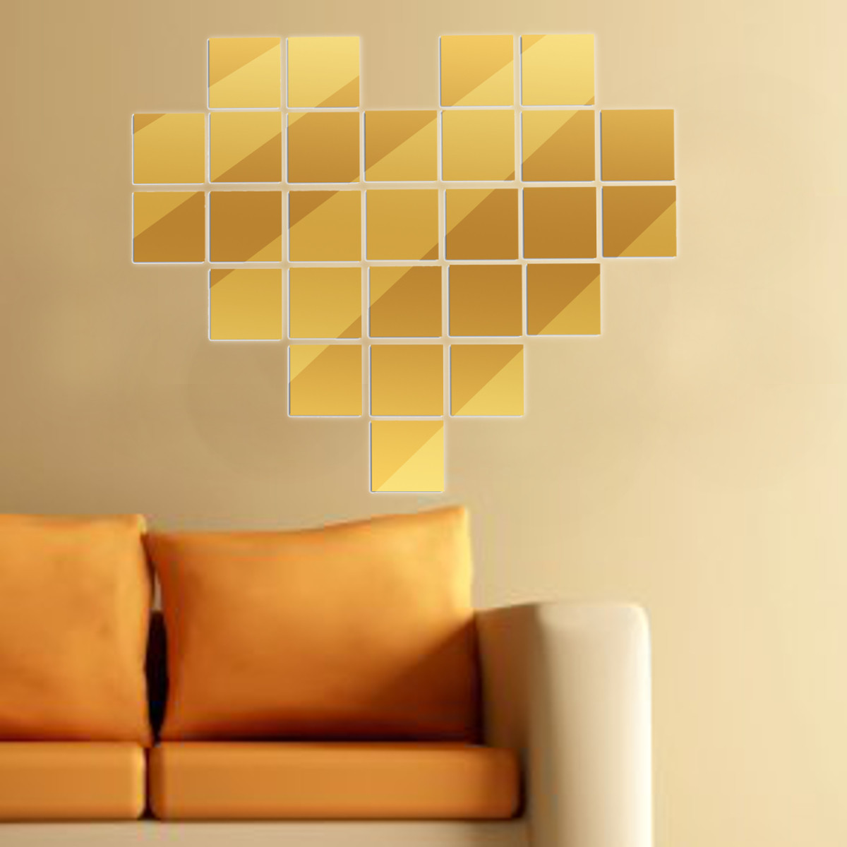 Gold Square Wall Decor : Pcs cm square modern crystal mirror wall home decal