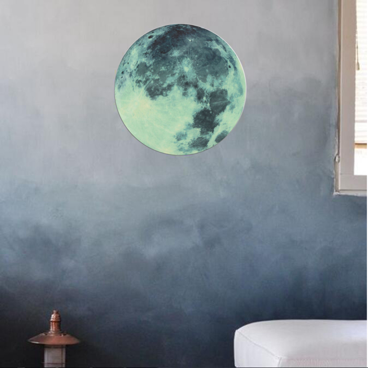 Romantique lumineux fluorescent lune terre autocollant for Decoration autocollant mural