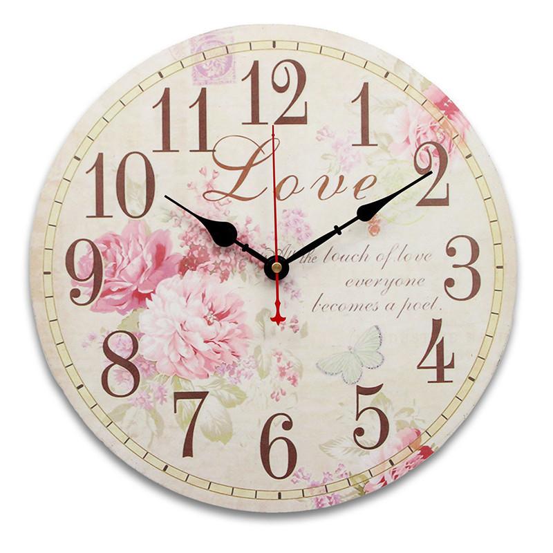 34cm horloge murale rose mdf vintage cuisine antique shabby chic retro accueil. Black Bedroom Furniture Sets. Home Design Ideas