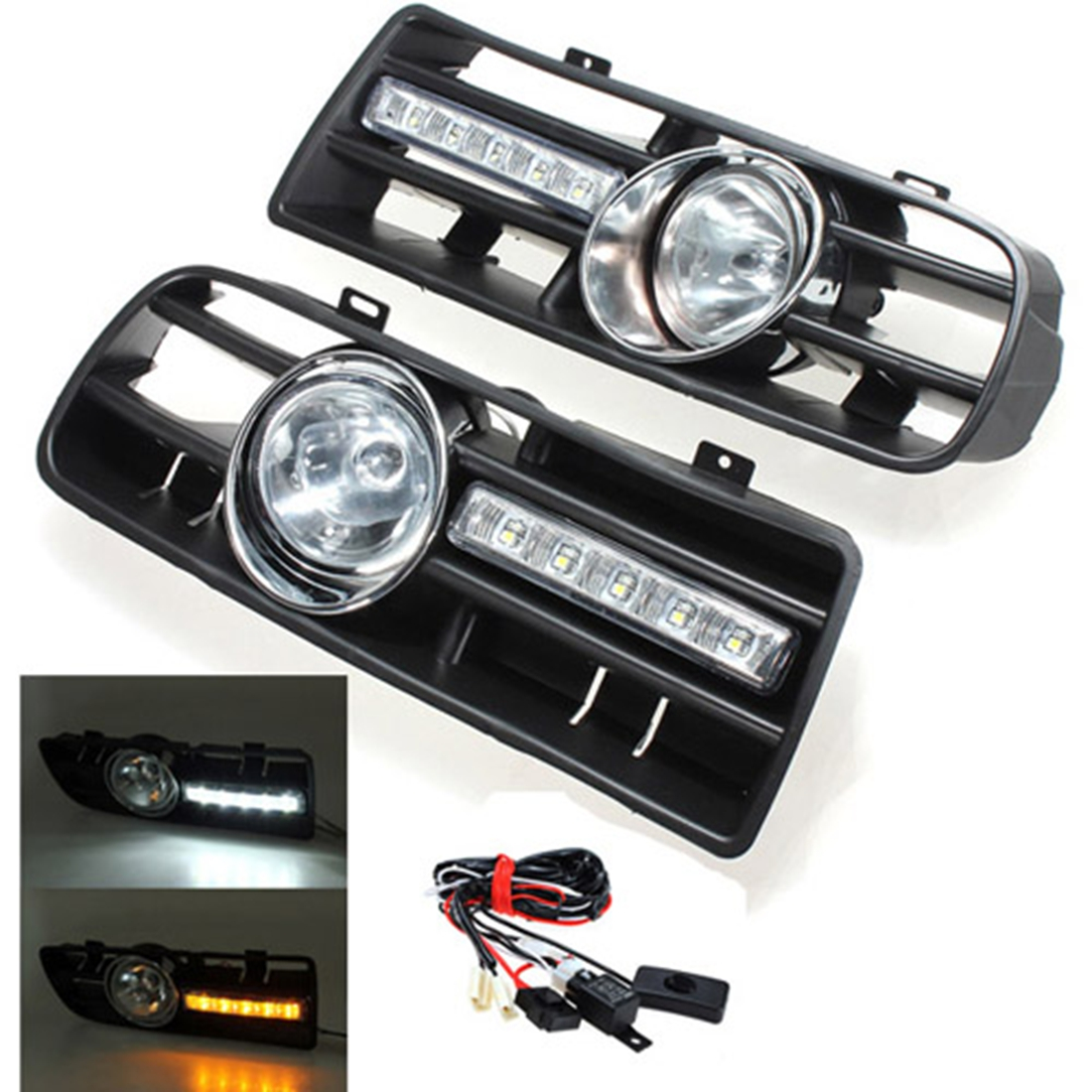 2 x led phares antibrouillard projecteur grille pare chocs voiture pr 97 06 vw golf 4 mk4 iv. Black Bedroom Furniture Sets. Home Design Ideas
