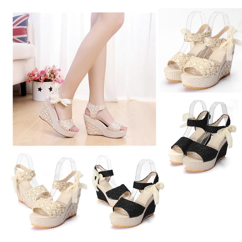 Sexy Lace Shoes Peep Toe Wedge Womens Platform High Heel Pump | Lazada PH