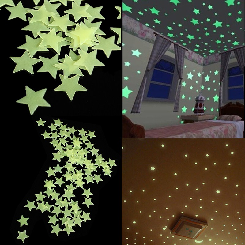 100pcs d coration murale sticker etoile lumineux achat for Decoration murale a coller