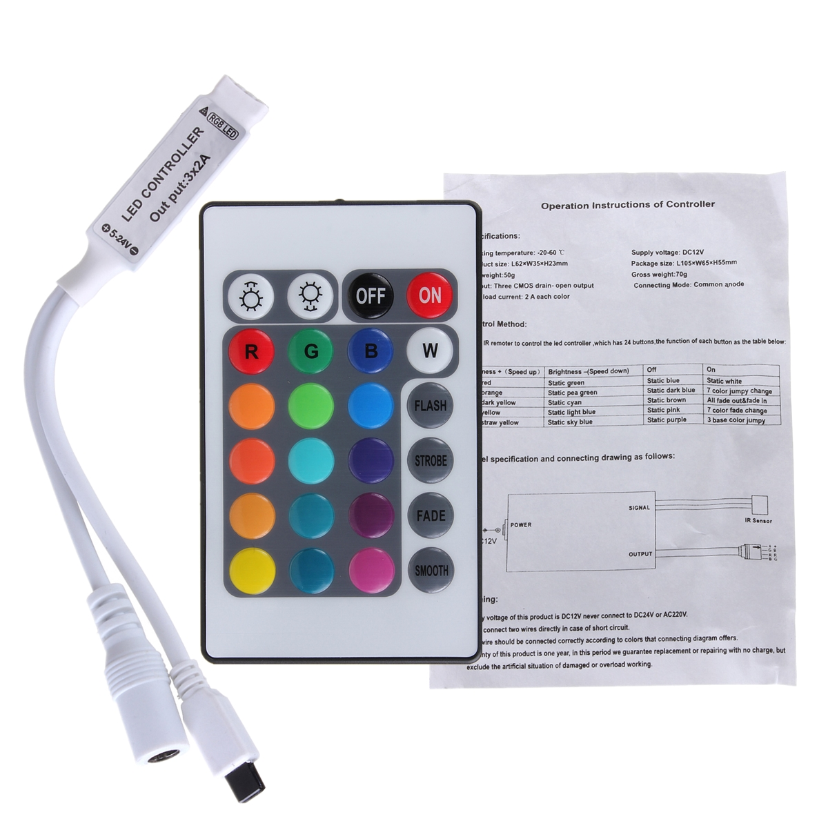 24 key mini ir remote controller for 3528 5050 rgb led strip light product description aloadofball Gallery