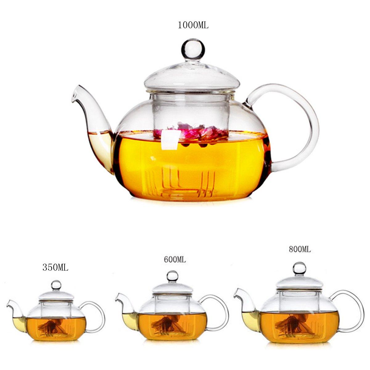 350мл-1000мл Жаростойкий стеклянный чайник и прозрачная заварочная чашка с двойными стенками