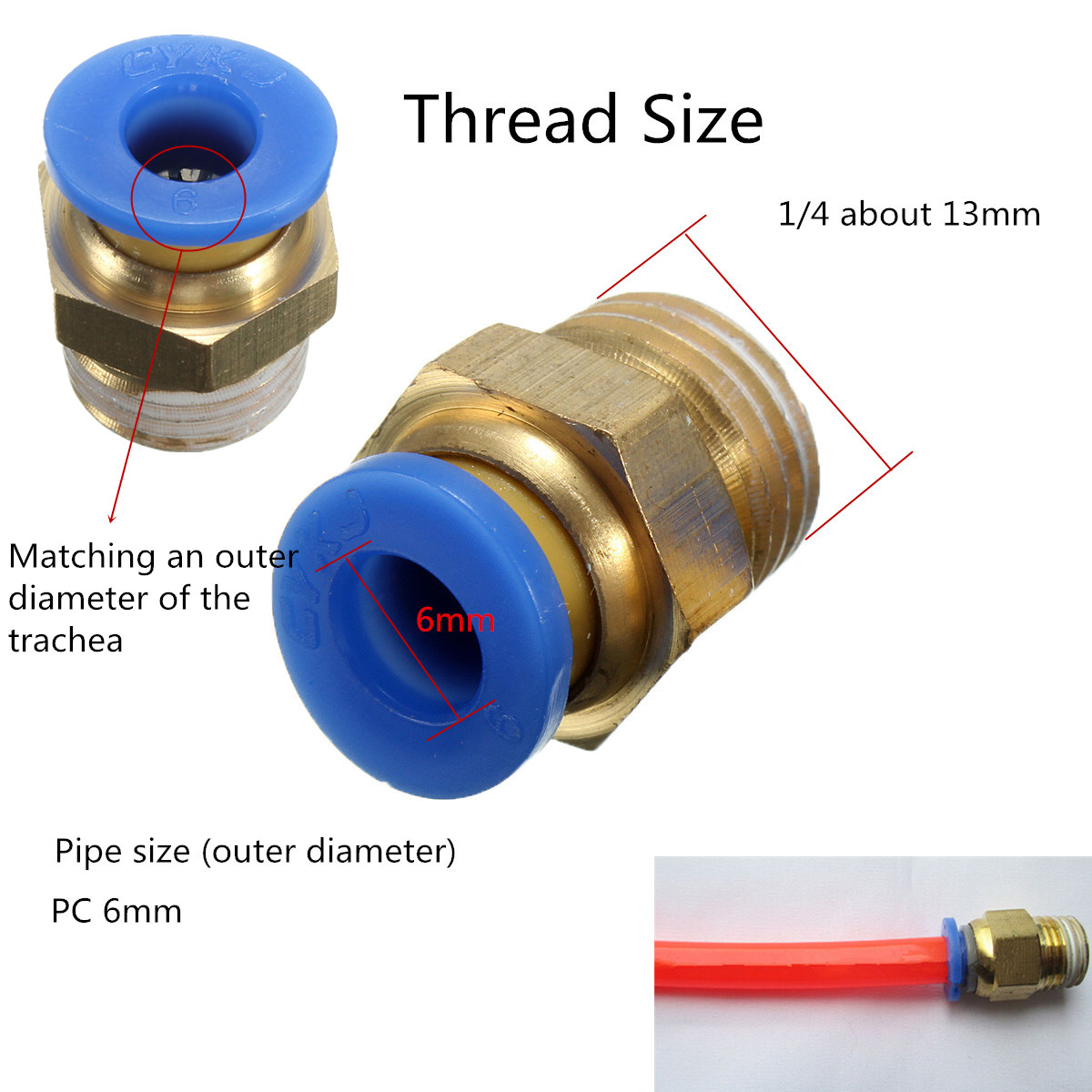 4Pcs BSP 1/4 - 6mm Straight Male Push in Fitting Pneumatic PU Hose Connectors   Lazada Malaysia