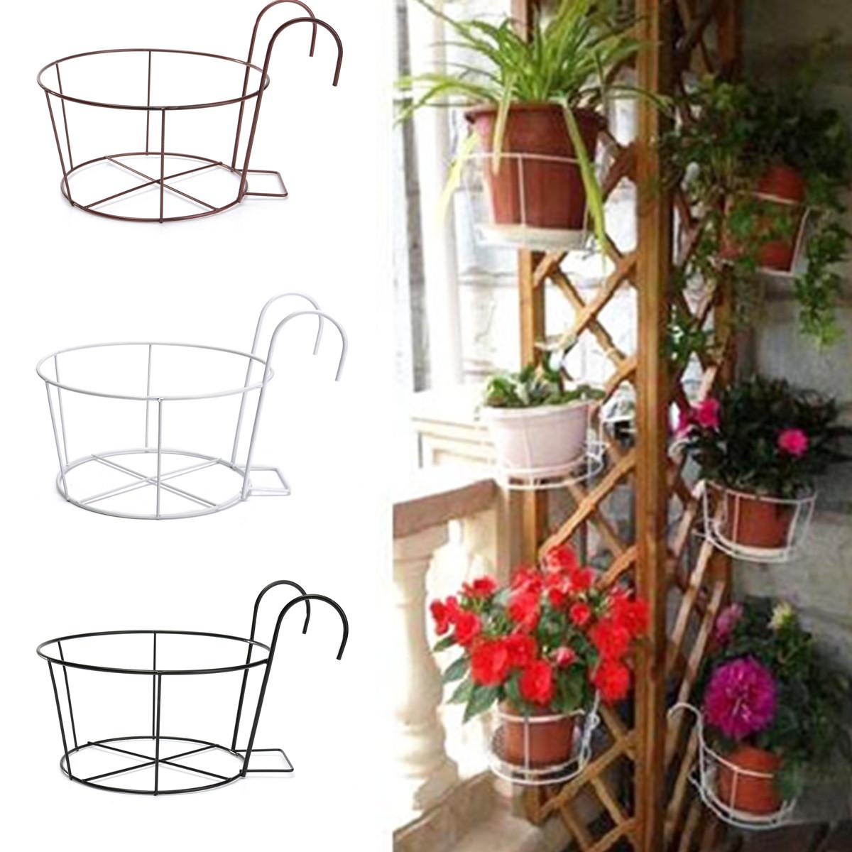 Metal iron flower pot hanging balcony garden plant planter home decor basket white intl - Metal hanging planter ...
