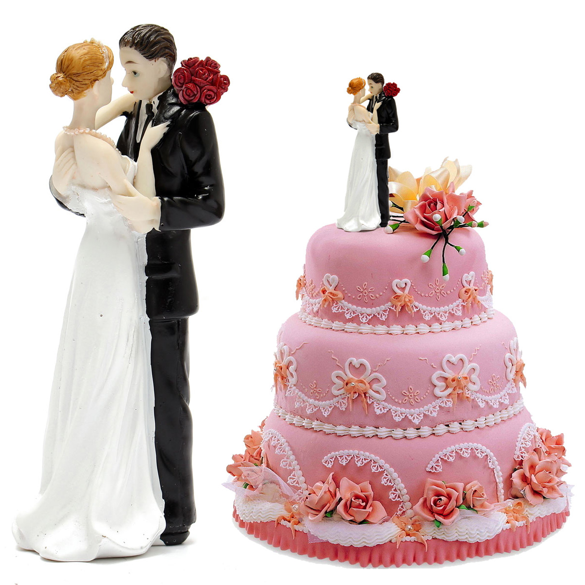 ROMANTIC BRIDE AND GROOM COUPLE WEDDING CAKE TOPPERS