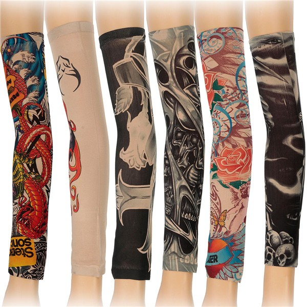 6pcs Styles Mix Temporary Tattoo Sleeves Stretchy Halloween Party Arm Stocking