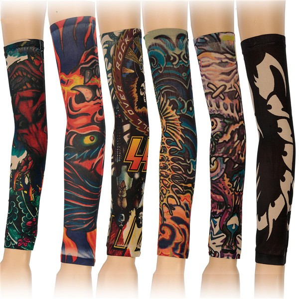 6pcs Styles Mix Temporary Tattoo Sleeves Stretchy Party Arm Stockings G