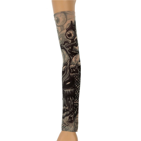 6pcs Tattoo Sleeves Halloween Party Mix Style Stretchy Temporary Arm Stockings