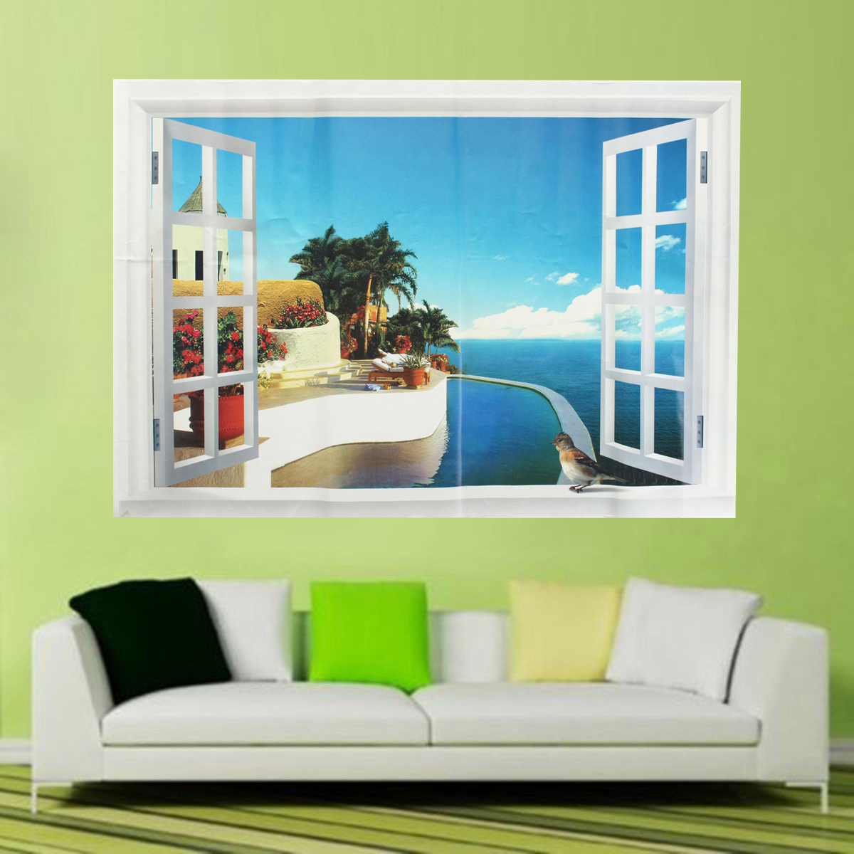 Wholesale 3d window ocean beach wall sticker decals room for Room decor lazada