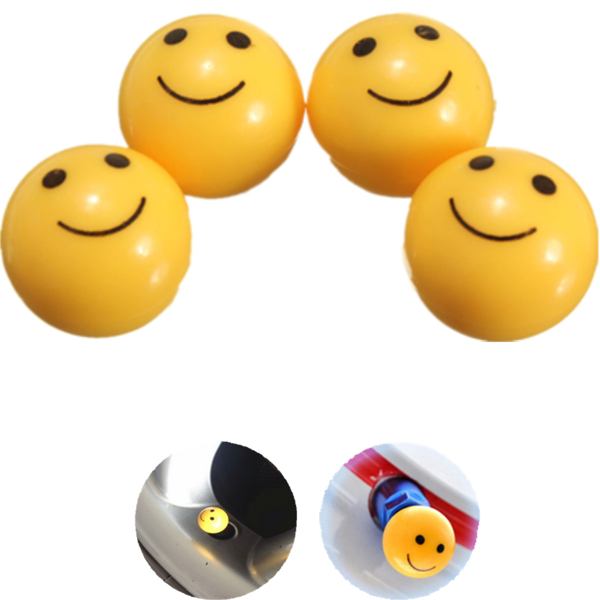 4pcs Smile Face Motorcycle Tire Valve Wheel Tyre Caps Dust Covers