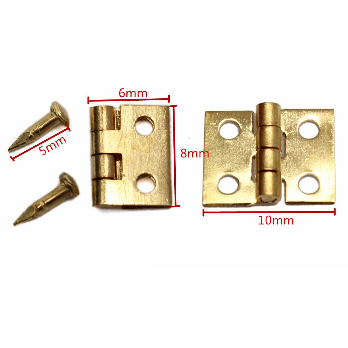 Rzdeal 50/pcs Mini Charni/ères Charni/ères 8/x 10/mm avec vis de cuivre pour maison de poup/ée miniature meubles Armoire de cabinet
