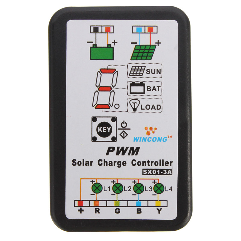 3a 6v 12v pwm solar panel light controller battery charge. Black Bedroom Furniture Sets. Home Design Ideas