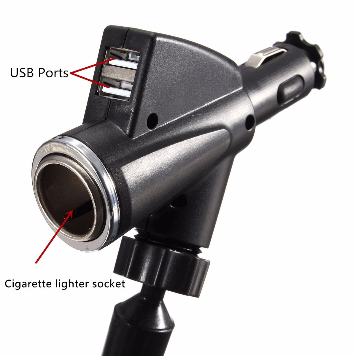 DURAGADGET Câble USB + Chargeur Allume-Cigare Double Prise