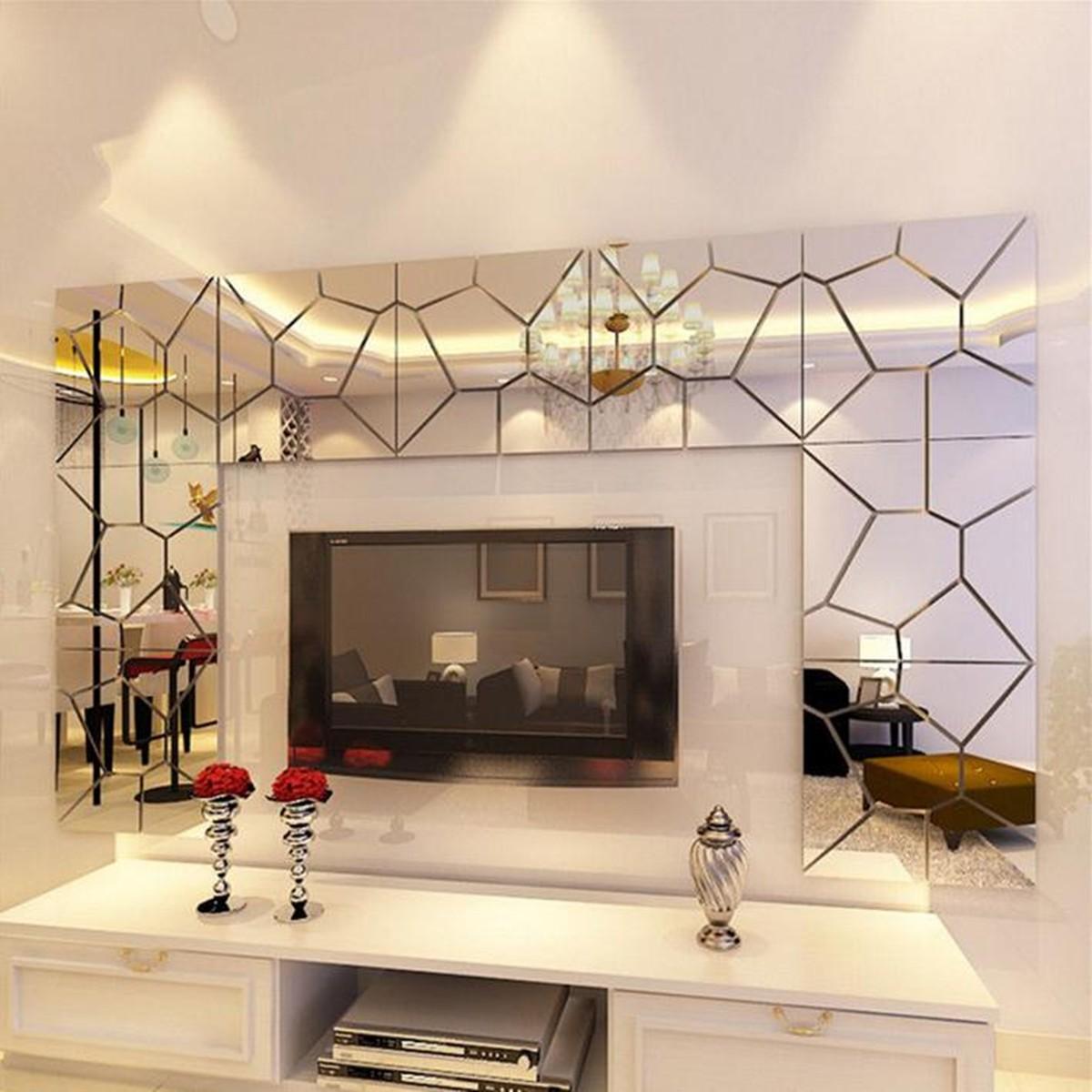 DIY 3D Acrylic Modern Mirror Decal Art Mural Wall Sticker ...