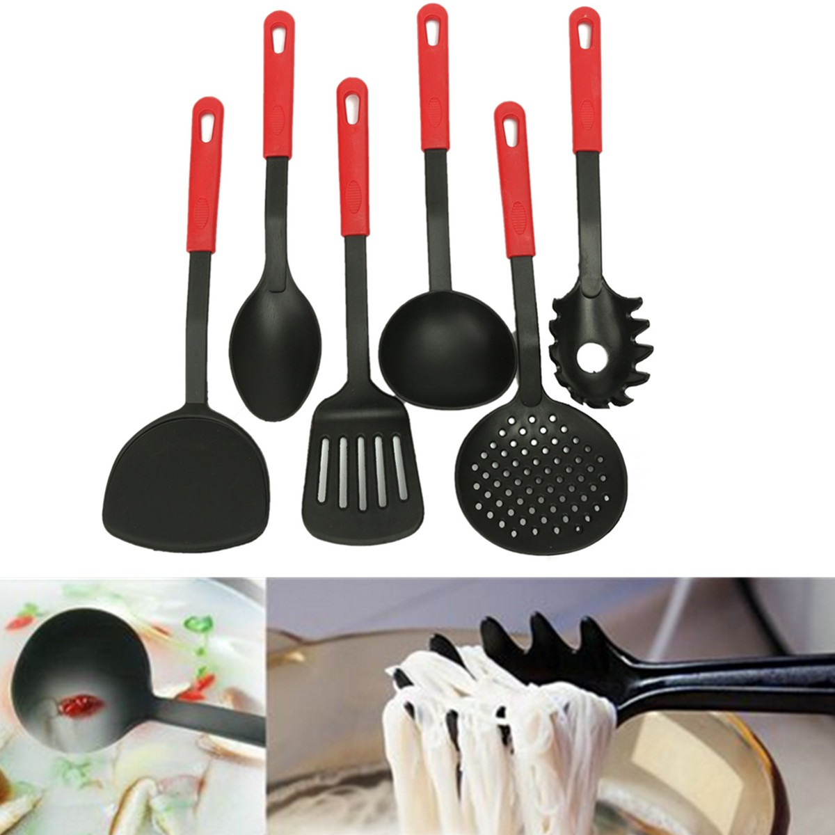 Kitchen Set Lazada: New 6 Piece Black Nylon Kitchen Cooking Utensil Set Gadget