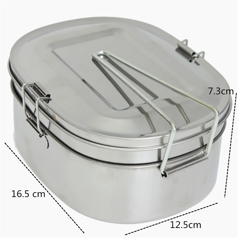 large stainless steel student oval case bento lunch box food lazada ph. Black Bedroom Furniture Sets. Home Design Ideas