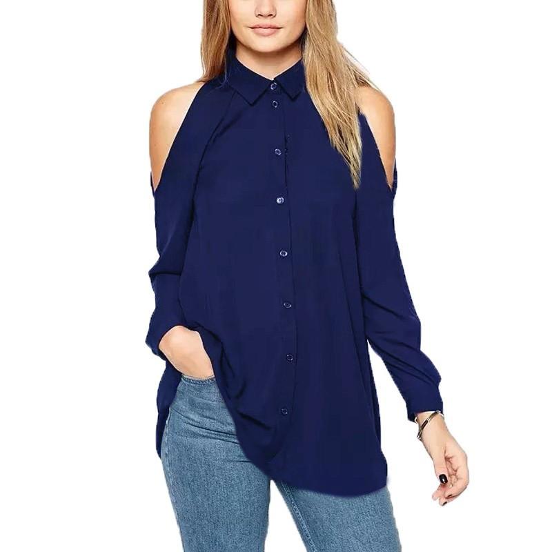 053c18398605d Zanzea Women Long Sleeve Off Shoulder Chiffon Shirt