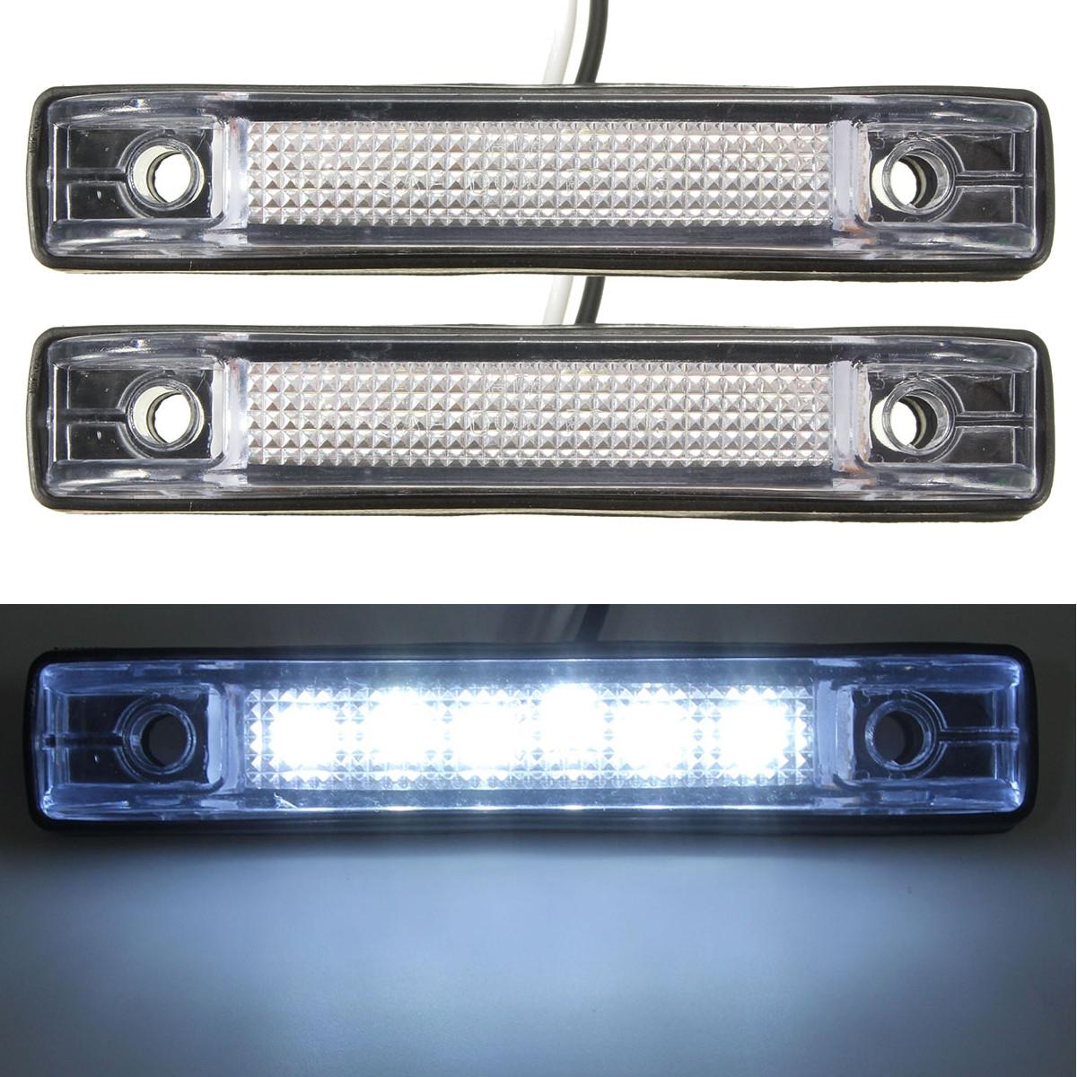 2pcs led c t lampe camion remorque voiture 12v 24v blanc. Black Bedroom Furniture Sets. Home Design Ideas