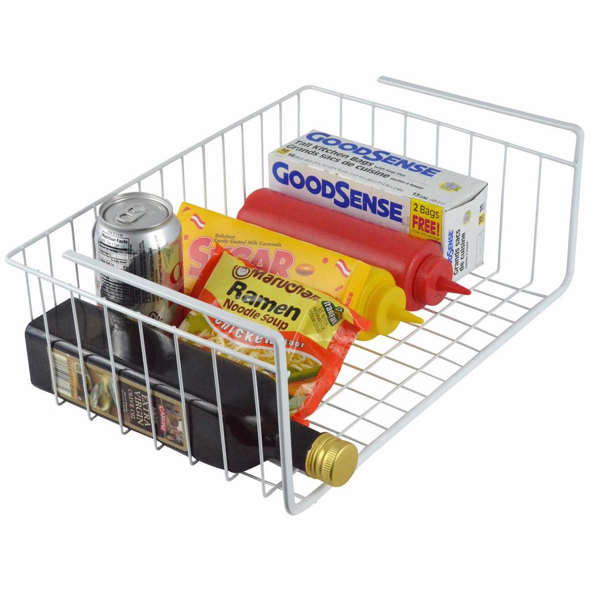 Under shelf basket wire wrap rack white storage organizer for Under shelf basket wrap rack