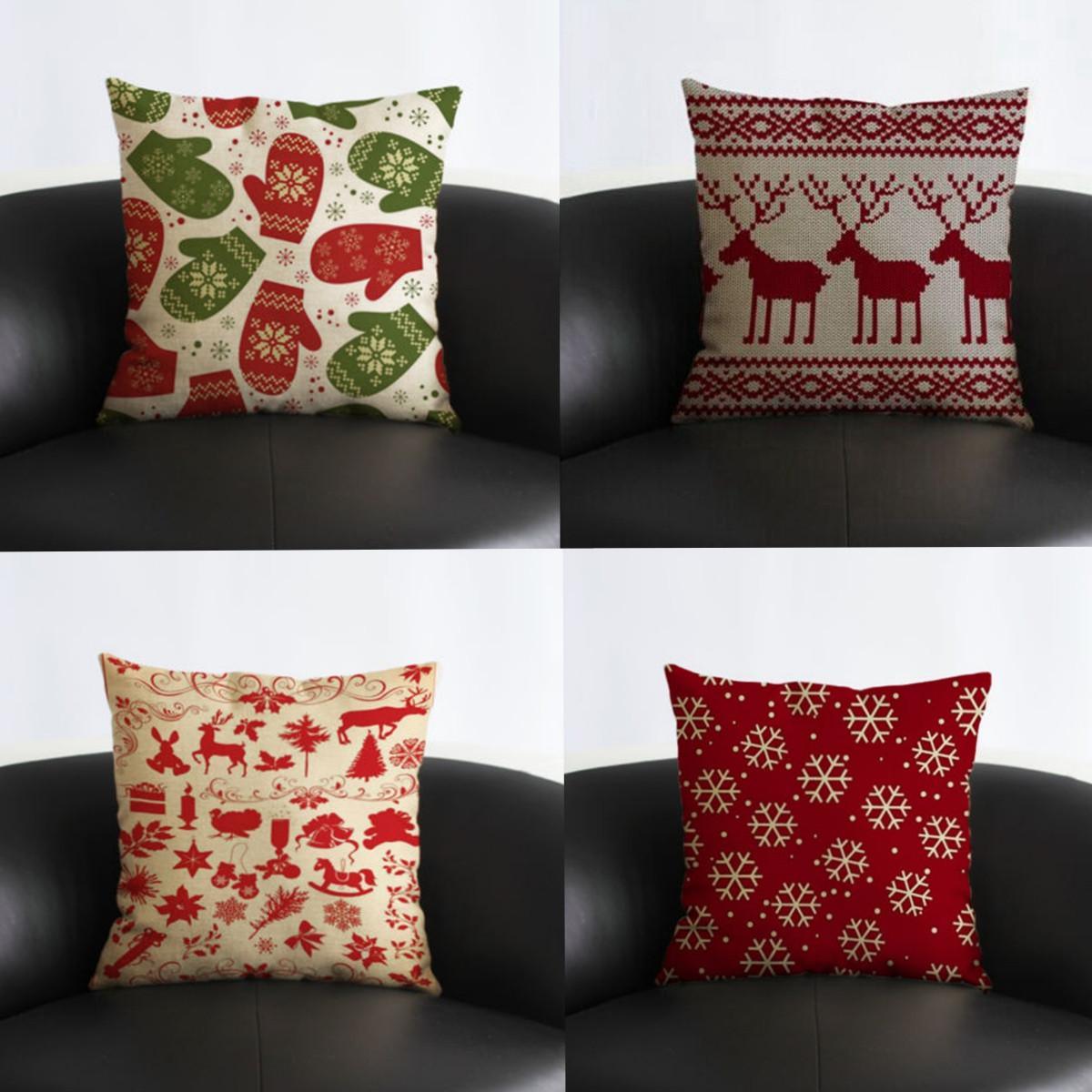 1x housse coussin cerf no l taie d 39 oreiller pillow d cor cover canap maison gants achat. Black Bedroom Furniture Sets. Home Design Ideas