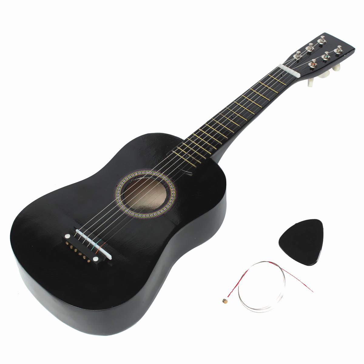 hot new beginners black basswood acoustic guitar with guitar pick wire strings 11street. Black Bedroom Furniture Sets. Home Design Ideas