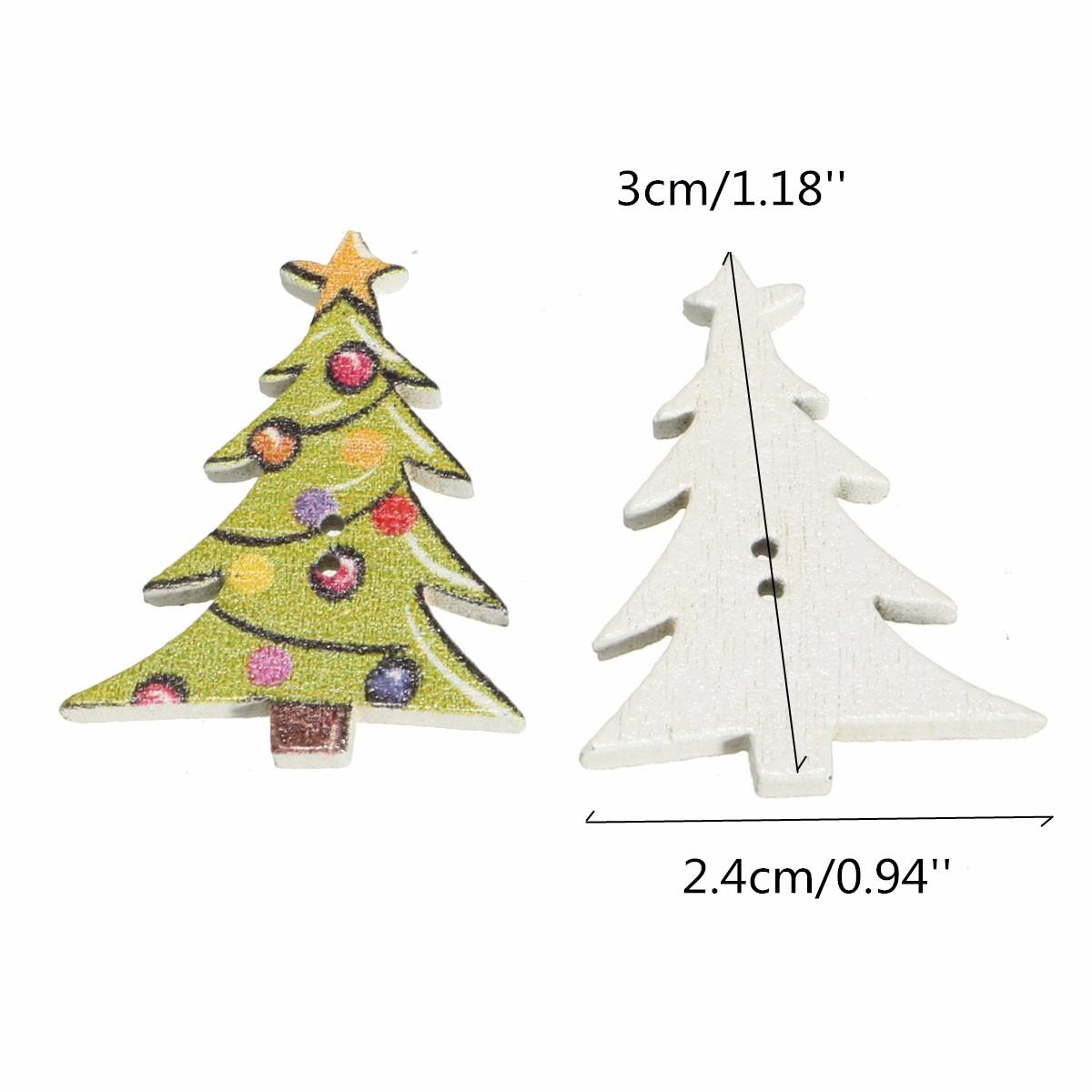En Bois Noël Boutons Arbre de Noël couleurs 18 mm x 17 mm 100pcs