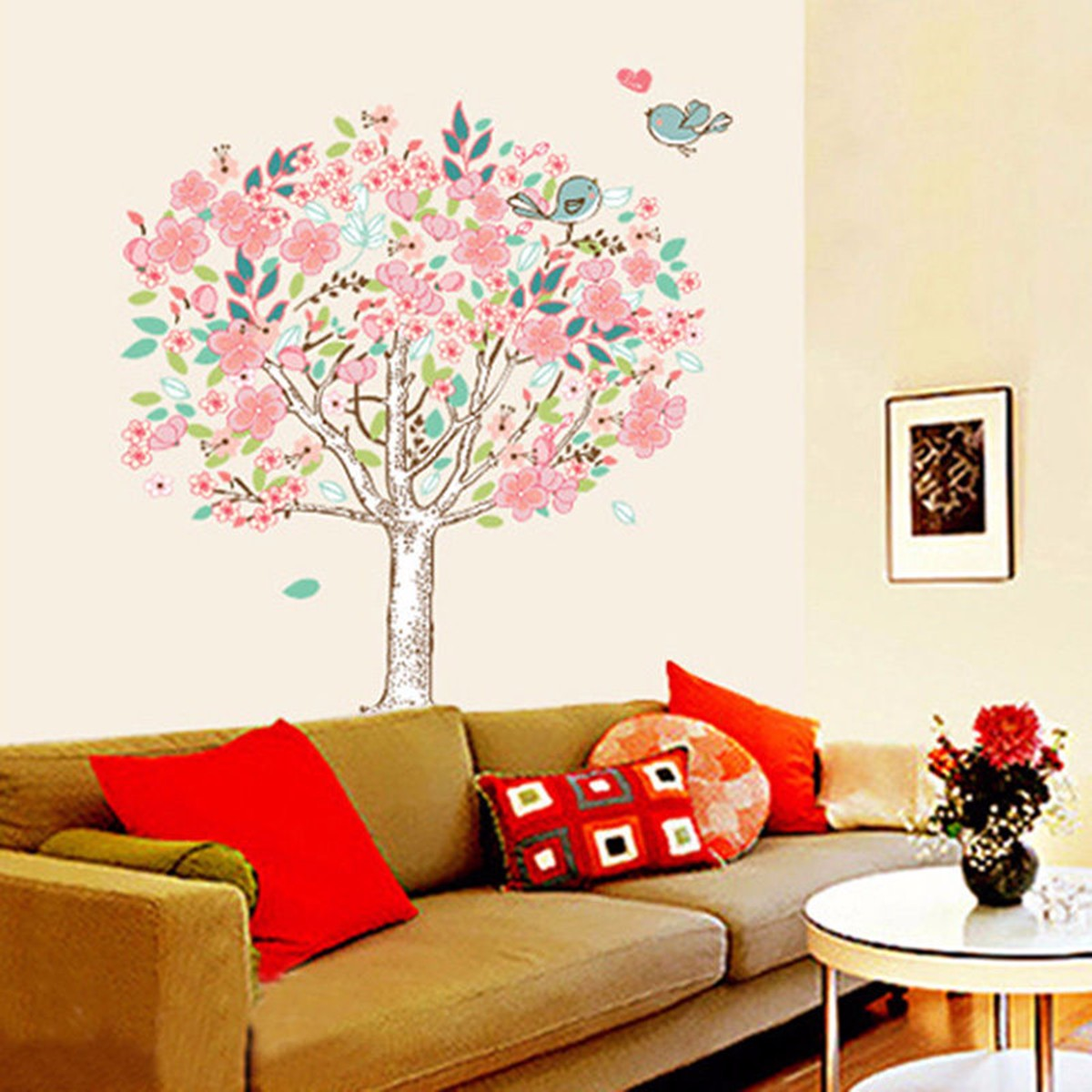 Birds flower tree removable vinyl decal wall art sticker for Room decor lazada