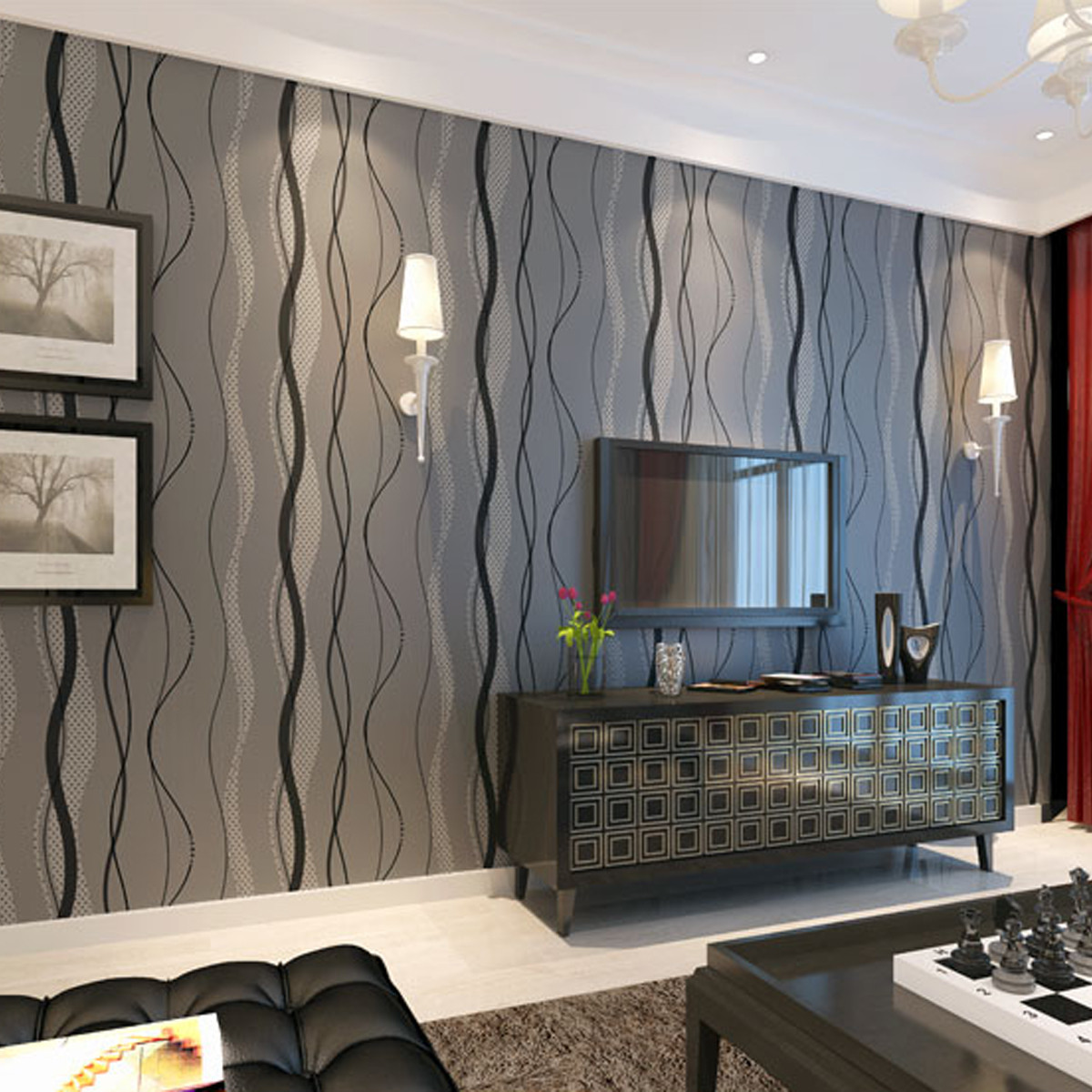 Neufu papier peint murale mur 3d courbe stripe tissu non - Feature wall ideas living room wallpaper ...