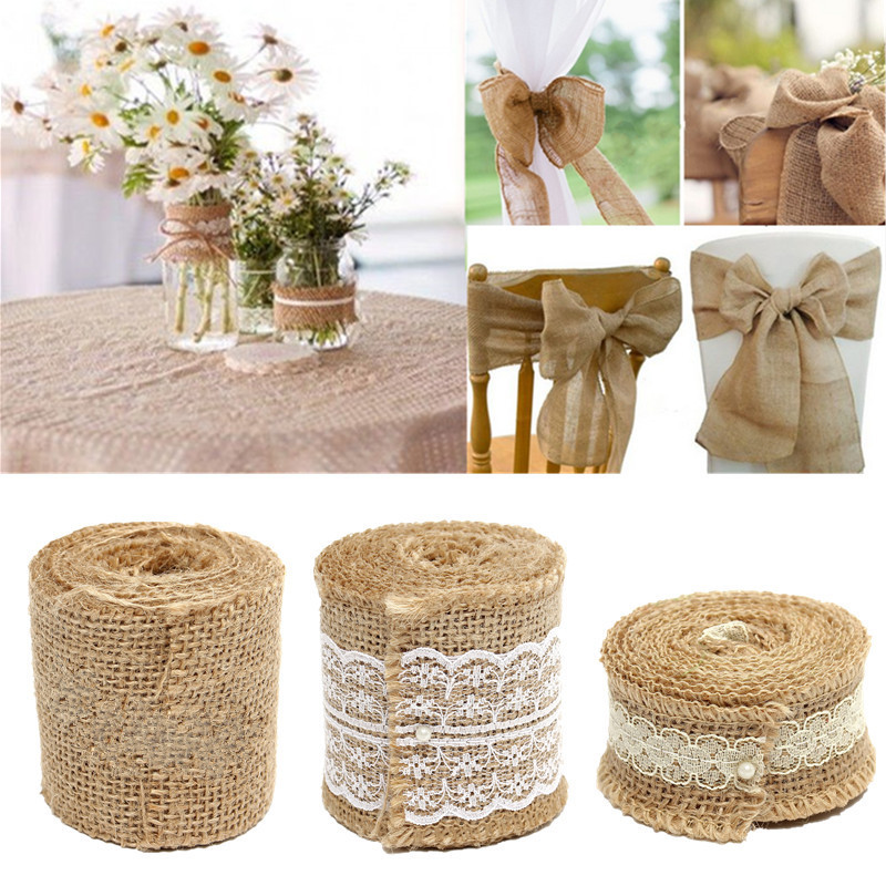 2m ruban toile jute hesse tissu mariage d coration no l type c achat vente tulle noeud. Black Bedroom Furniture Sets. Home Design Ideas