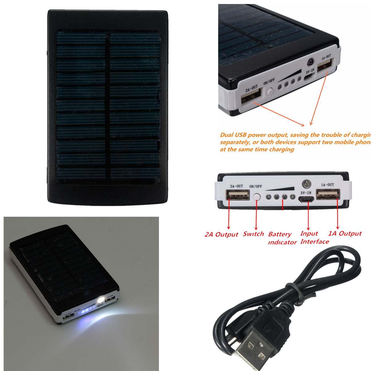 10000mah portable dual usb chargeur solaire led batterie power bank secours achat batterie. Black Bedroom Furniture Sets. Home Design Ideas
