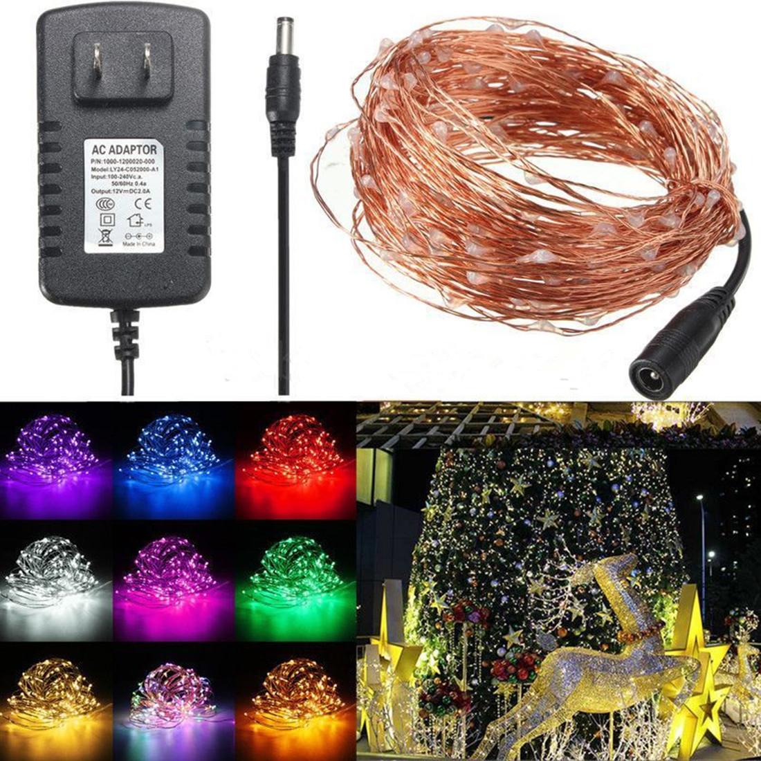 20m 200 led guirlande lumineuse ext rieure f te dc 12v 2a adaptateur d cor vert achat vente - Guirlande lumineuse exterieur 20m ...