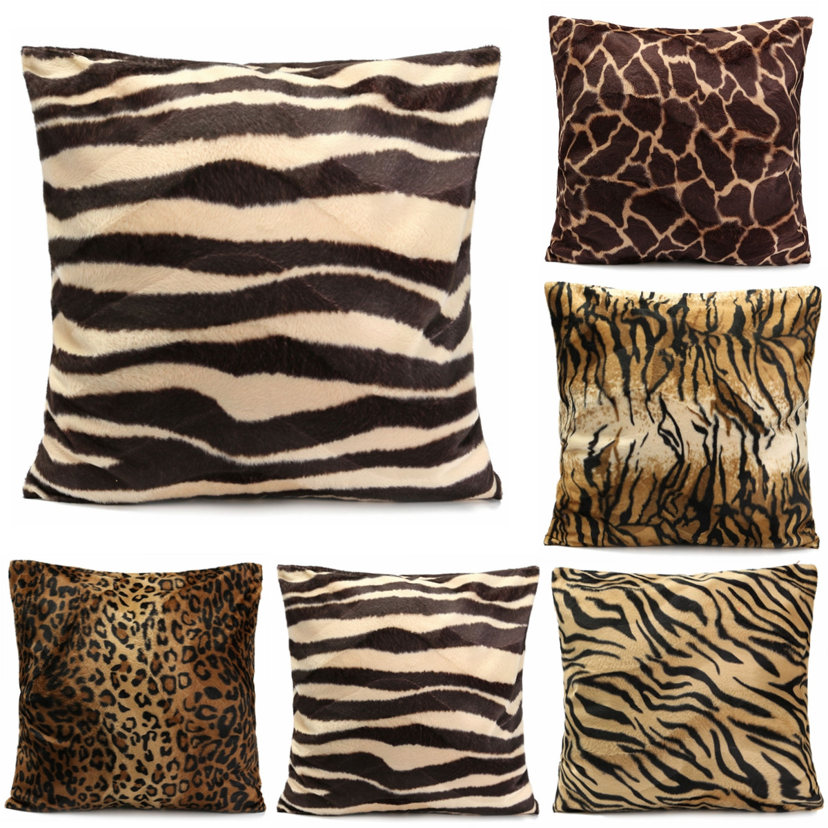 Fancy Throw Pillow Patterns : Animal Multi-Pattern Faux Fur Decorative Throw Pillow Cover Cushion Case Square Lazada Malaysia