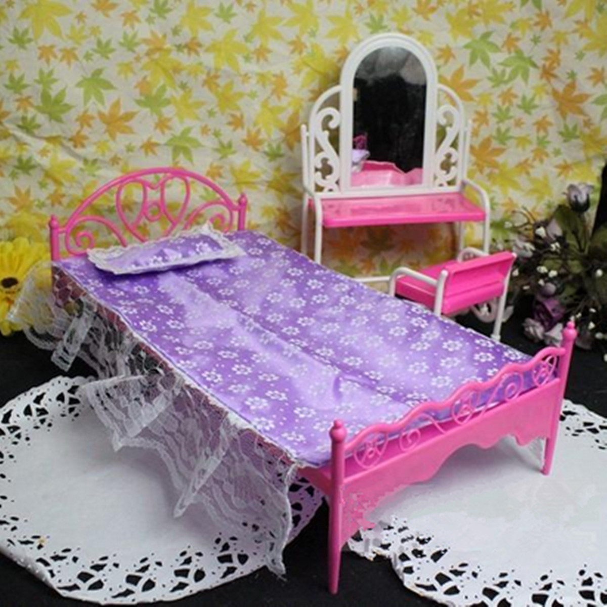 Plastic miniatures bedroom furniture single bed for barbie dolls dollhouse gift lazada malaysia Plastic bedroom furniture