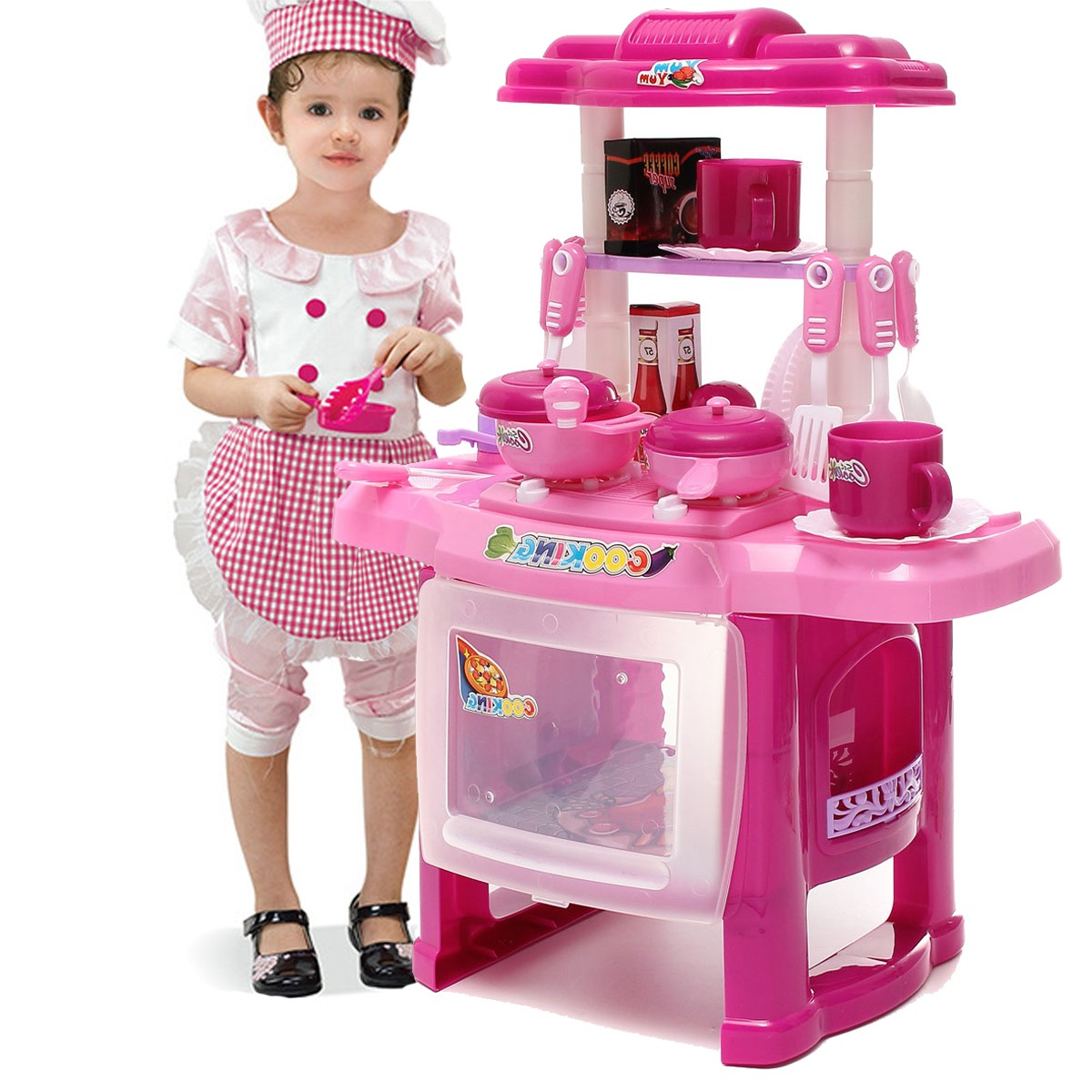 Pro Pink Kids Kitchen Cooking Pretend Role Toy Play Set