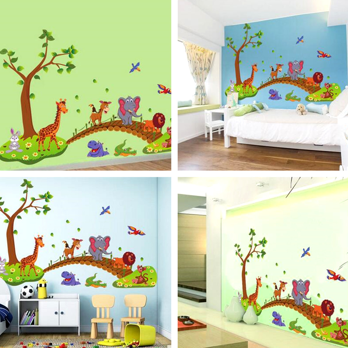 Cartoon animal removable wall sticker kids nursery home for Diy tree mural nursery