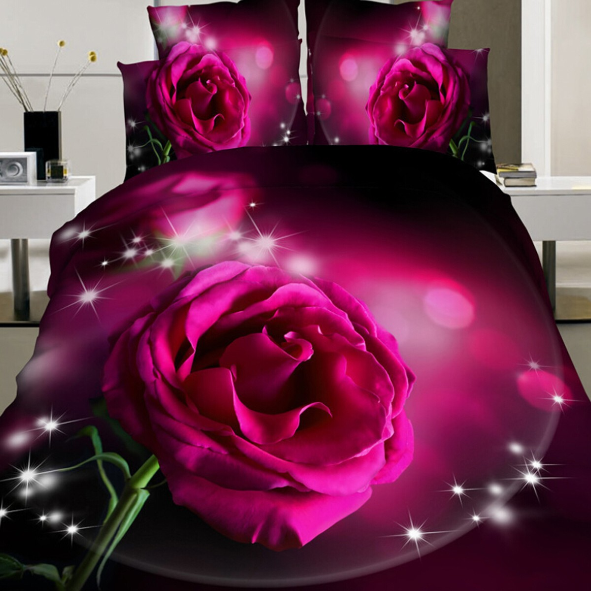 new 4pcs parure de lit 3d fleur rose housse couette drap couverture taie oreille achat vente. Black Bedroom Furniture Sets. Home Design Ideas