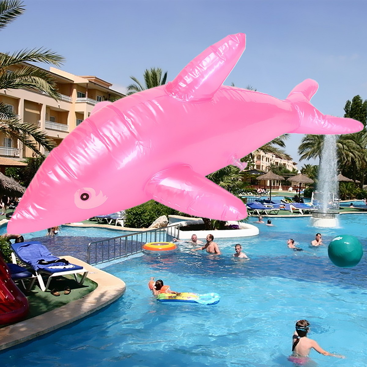 Inflatable dolphin fish swimming pool beach party kids toy for Pool of fish