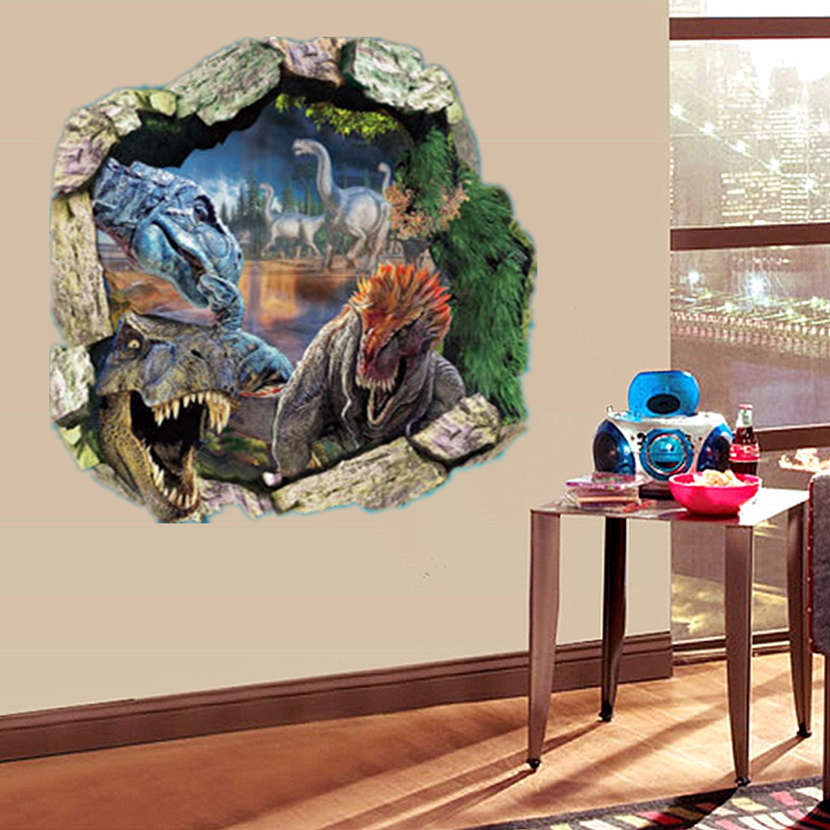 For jurassic park t rex dinosaur 3d wall sticker decal for T rex bedroom decor