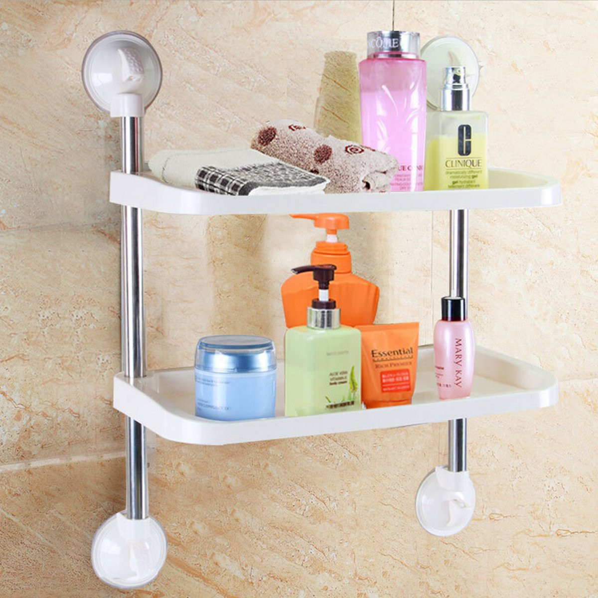 Wall mounted suction cup kitchen bathroom storage shelf for Bathroom accessories lazada